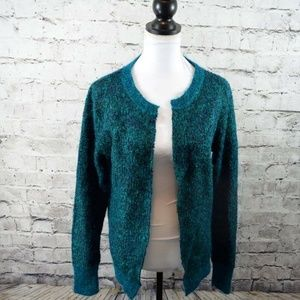 A.L.C. Green Teal Metallic Open Front Cardigan